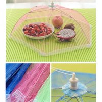 Wholesale Meal cover Hexagon gauze table mesh Breathable food cover Umbrella Style Anti Fly Mosquito Kitchen cooking Tools Random Color A071