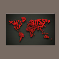Cheap Unstretched Wall Decor Painting Red World Map Digital Picture Giclee Print on Canvas Custom Canvas Modular Paintings on the Wall