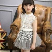 kids clothes high quality - High Quality New Arrival Summer Lace Outfits Lace Top Gauze Skirt Outfits Sleeveless Girl Outfits Kids Clothing Sets