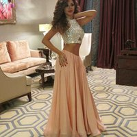 Wholesale Arabic Two Pieces Crop Top Chiffon Party Prom Dresses Myriam Fares Crystal Beaded CelebrityGowns A Line High Neck Many Color Evening
