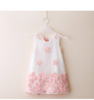 Wholesale Fashion summer toddler girls dress children clothing sleeveless flower embroidery lovely girl clothes princess party dress