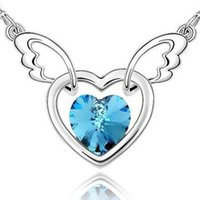 aesthetic sterling - Korean S925 Silver Fashion aesthetic angel lovers Rhinestone Pendants clavicle necklace chy083