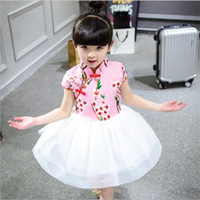 Wholesale 2016 New Chinese Style Midi Baby Girls Cheongsam Dress Kids Floral Costume Girls Knee Length Cotton Dress For T