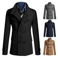 Wholesale Fall Men s Casual Wool Blend Trench Coat Wither Warm Turn down Collar Double Breasted Outwear Overcoats Plus Size XL Y1813