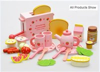 wooden kitchen sets toy - 2016 Mother Garden Toast Bread Children S Wood Playhouse Game Toy Toaster Kids Wooden Kitchen Toys Set Free DHL E605E