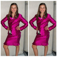 girls pageant dresses size 6 - Slim Custom Piece Girls Formal Pageant Dresses Knee Length Long Sleeves Jacket Girls Interview Suit Formal Short Teenager Custom Plus Size