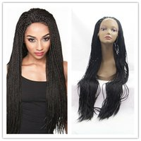Wholesale Synthetic Wigs For Black women braided hair inches cheap lace front wig kanekalon fiber black wigs Big Box Braid African American wigs