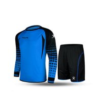 Wholesale Kelme K15Z209 Men Long Sleeve Tight Printing Wicking Super Stretch Competition Training Soccer Goalkeeper Suit Blue Black
