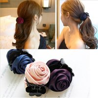 Wholesale Fashion Girls cotton Rose Flower Bow Hair Claw Jaw Clip Clamp Barrette Big Flower Hair Accessories for Women Korea style hairpin