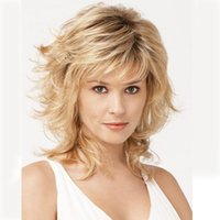 Wholesale Peruca Cosplay Heat Resistant Synthetic Wigs Short Wavy Ombre Blonde Wig Fast Deals Fashion Party Good Quality