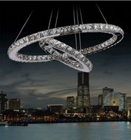 adjustable height pendant - Two Ring Stainless Steel with Crystal LED Pendant Lights Fixture Home Luminaire Suspension Lamp Height Adjustable