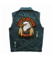 american classic motorcycle - Motorcycle Club Patch BORN TO BE FREE EAGLE FREEDOM AMERICAN CLASSIC Badges Rivet Embroidery Men s Sport Denim Vest Distressed