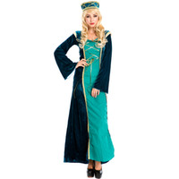 arab costumes - New Green Arabian Royal Princess Fancy Dress Ladies Halloween Costume Exotic Arab Retro Court Dress Cosplay Costume Temptations A158697