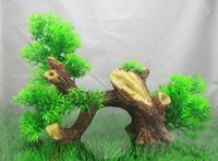 aquarium wood - Vivid Water Plants Artificial Wood Aquarium Ornament House Fish Tank Decoration cm High Christmas Gifts Hot
