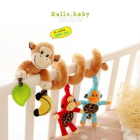 Wholesale Musical Baby Month Toys Stroller Bed Cot Crib Hanging infant baby educational cartoon Monkey pattern Rattles toys