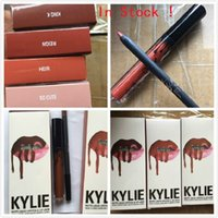 Wholesale 200 kits NEW Kylie Lip Gloss Lipstick Boxset Lipstick Lipliner Kylie Jenner Matte Lipstick King k Reign Heir so cute colors