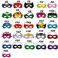 Wholesale 2016 New kids superhero mask cosplay halloween mask halloween half masks superman spiderman batman captain america mask Eye Masks