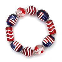 american flag drawings - New Popular American flag painted glass bracelets hand drawn hand string bracelets elastic paint bracelets for women