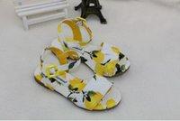 Wholesale 2016 Big Girl Lemon Sandals Baby Lemon print Shoes Girls walker shoes Baby Soft soled shoes Kids Children Summer shoes ZX