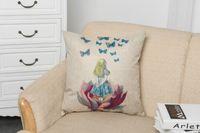 al por mayor almohada azul cubre 18-Cojín de almohadilla de lino de algodón Cojín de almohada incluido Cuadrado de falda azul Gril Cojines de asiento decorativos para la decoración del hogar de sofá 18