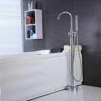 Wholesale PHASAT New Floor Standing Bathtub Faucet With Hand Shower Chrome Finish Brass Fixed Support Type Faucet