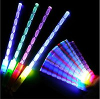 Wholesale 2016 New Styles LED Cheer Rave Glow Sticks Acrylic Spiral Flash Wand For Kids Toys Christmas Concert Bar Birthday Party Supplies
