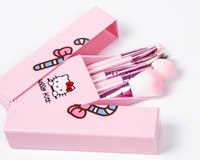 Cheap 2016 NEW!! Factory Outlet Hello Kitty 8 Pcs Set Makeup Brush Set Professional Makeup Tools Portable Storage Box Full Set