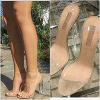 achat en gros de zapatos clair-Clear PVC Strappy Talons Sandales Gladiator Femmes 2016 Nouveau Été Chunky Talons Talons Chaussures Femme Chaussures Femme Chaussures Femme Pompes