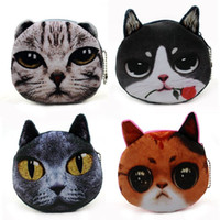 Wholesale Gorgeous Flawless Cat Face Zipper Case Coin Purse Wallet bag D Plush meow star Bead Chain Purse girls headset bag star coin bag