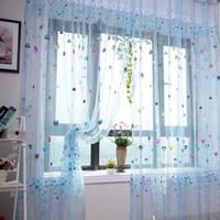balloon curtains pattern - 2pcs Love Heart Balloon Pattern Window Curtain Pastoral Curtains for Bedroom Decor Room Voile Door Panel Sheer Window Scarfs
