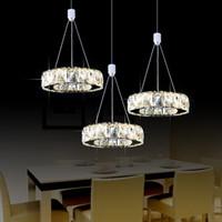 advance study - led pendant light modern simple advanced stainless steel K9 crystal led pendant lamps pendant lighting fixtures for living room bedroom