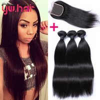 Wholesale 2016 TOP selling straight hair bundles with top lace closure good quality Brazilian Peruvian Malaysian hair