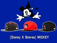 basketball mouse - Stereo brand designer fashion cute Mickey Mouse cartoon fitted anime flat brimmed basketball hats snapback