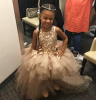 Wholesale Jewel Tull Applique sweep train a line strapless Beyonce and her daughter Blue Ivy Girl s Pageant Dresses