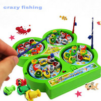 Wholesale Athletic Magnetic Rotary Puzzle Toy Electric Music Four Fishing Plate Marine Fishing Game Toy Improve Baby Eye hand Coordination