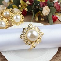 banquet tables wholesale - 100pcs Faux Pearl Napkin Ring Nice Looking Weeding Party Banquet Table Decoration CJH ZZ