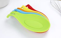 Wholesale Mix Color Spoon Reset Silicone Safty Dinnerware Holder Kitchen Gadget Dining Cooking Tools Heat Resistant