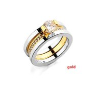 Wholesale New Arrival high Quality K Gold White Gold plated Inlay AAA Zircon Rings women wedding Engagement Ring Couples Jewelry