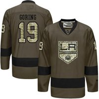 best gore - Los Angeles Kings Mens Jerseys Butch Goring Army Green Salute to Service Ice Hockey Jersey Best Quality