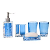 Wholesale New Bath Set Resin Bathroom Accessories Set Soap Dish Toothbrush Holder Lotion Dispenser Tumbler