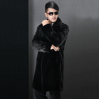 best grade mink - Best sale new winter fashion men faux fur coat Black long section turn down collar High Grade mink overcoat Plus Size S XL