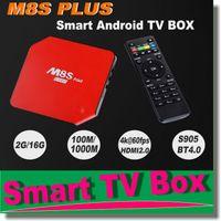 Wholesale M8S Plus Quad core Android Amlogic S905 Android tv set top box XBMC GB RAM WiFi bit Smart tv box K K HD D Media Player TVB