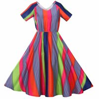 Wholesale 2016 Surefavor OEM sleeveless plus size stripe colorful retro vintage print dress for women