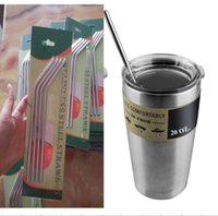 Wholesale 30 oz oz YETI Stainless Steel Straw Metal Drinking Straw straight curved Beer Juice Straws Cleaning Brush Set for Tumbler Rambler Cups new