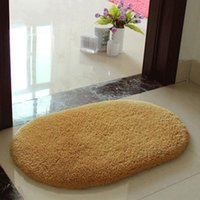 bath mat rugs - Hot Sale Shaggy Bathroom Rug Candy Color Plush Velvet Slip Mats Doormat Absorbent Washable Bath Mats Floor Bathroom Carpet W1