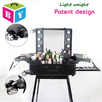 beauty twist - trolley rolling aluminum frame makeup cosmetic salon vanity beauty case with light bulbs mirror legs removable wheels