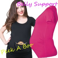 Wholesale 2016 quot baby boy or girl peeking out quot Casual Maternity Shirt specialized for pregnant women t shirt european big size XXL
