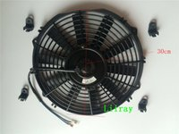 al por mayor ventilador eléctrico negro-12 pulgadas universal auto ac eléctrico radiador ventilador 12v 80watt Tire ventilador de inhalación con kit de montaje S 12