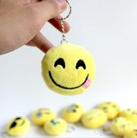 Wholesale QQ emoji plush pendant Key Chains Emoji Smiley Emotion Yellow QQ Expression Stuffed Plush doll toy for Mobile bag pendant