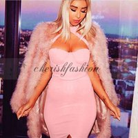 b wear caps - New fashion Vestidos Women S XL Pink White Black Summer Wear Dress Halter Strapless Front Split Sexy Club Party Dress M130 B